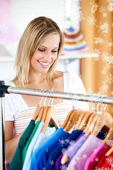 Bond woman is doing shopping