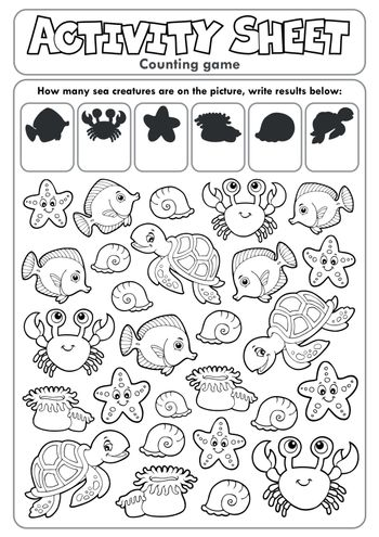 Activity sheet counting game 1 - eps10 vector illustration.