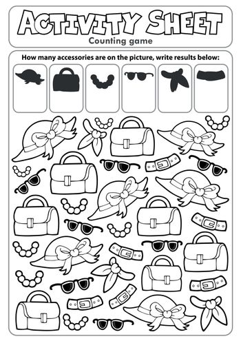 Activity sheet counting game 4 - eps10 vector illustration.