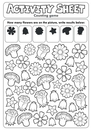 Activity sheet counting game 2 - eps10 vector illustration.