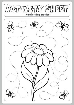 Activity sheet handwriting practise 1 - eps10 vector illustration.