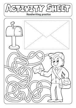 Activity sheet handwriting practise 4 - eps10 vector illustration.