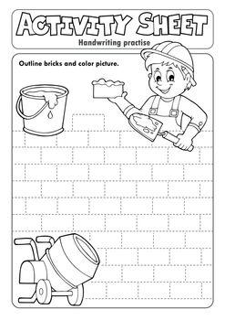 Activity sheet handwriting practise 5 - eps10 vector illustration.