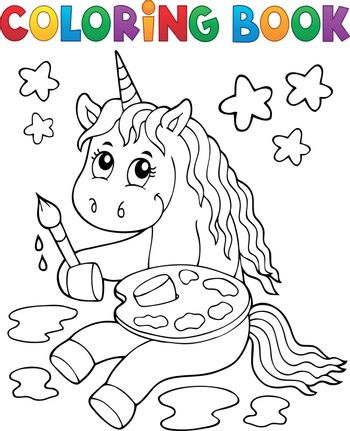 Coloring book painting unicorn theme 1 - eps10 vector illustration.