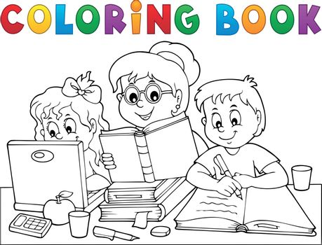 Coloring book home schooling image 1 - eps10 vector illustration.