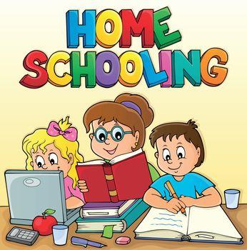 Home schooling theme image 2 - eps10 vector illustration.