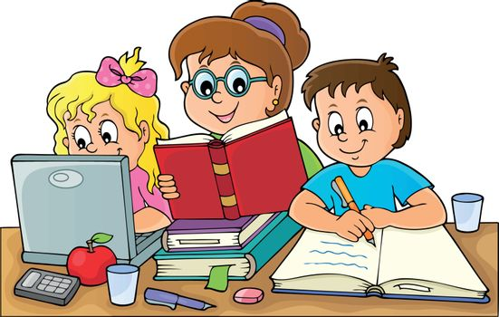 Home schooling theme image 1 - eps10 vector illustration.