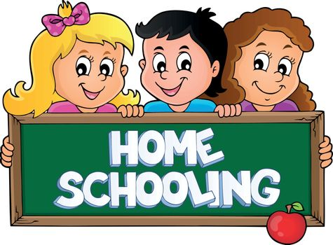 Home schooling theme sign 5 - eps10 vector illustration.