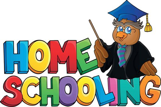 Home schooling theme sign 3 - eps10 vector illustration.