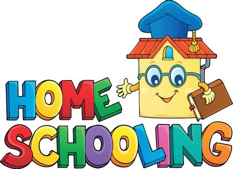 Home schooling theme sign 6 - eps10 vector illustration.
