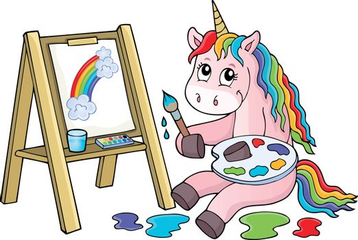 Painting unicorn theme image 2 - eps10 vector illustration.