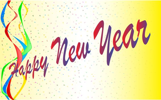 A happy new year card background with ribbons and confetti.