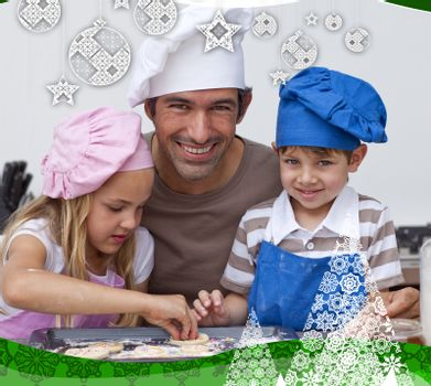 Father and daughter and son baking in the kitchen against christmas themed frame