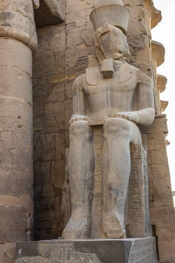 Colossal seated figures of the deified Ramesses II at Luxor Temple