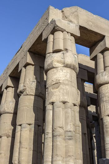 Papyrus shaped colonnade of Amenhotep III at Luxor Temple