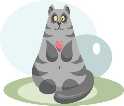 Cute grey cat with a pink heart