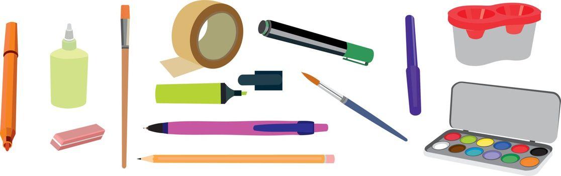 vector illustration school set, stationery