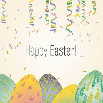Easter greeting card with eggs in plant ornaments. Vector illustrations for a poster, card, invitation or banner. Illustration in soft pastel color. Happy Easter