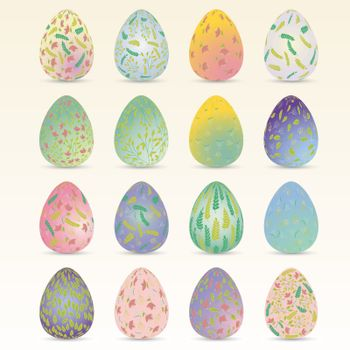 Easter egg. Set easter collection vector illustration. Easter eggs with plant ornaments. Spring flowers. Soft pastel colors. Plant, floral ornament in the shape of an egg. Happy Easter
