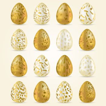 Easter egg. Set of realistic Golden and light eggs with golden ornament. Easter collection. Vector illustration.