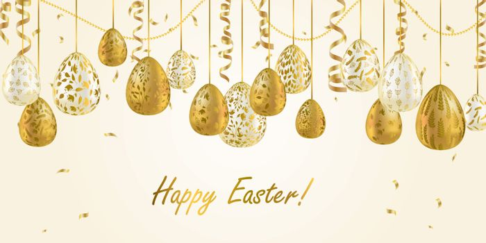 Easter egg. Greeting card with Golden eggs. Religious holiday vector illustration for poster, flyer. Decorate Golden eggs with plant ornaments on a light background. Happy Easter