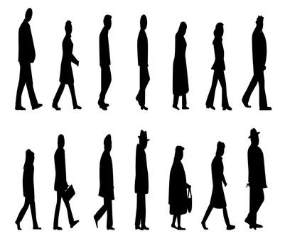 Abstract of various types of folk walkig, isolated over a white background