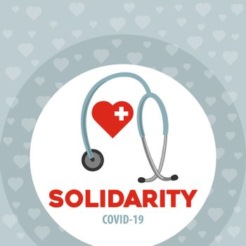 Solidarity with doctors. Coronavirus poster. Covid-19 solidarity. Vector.