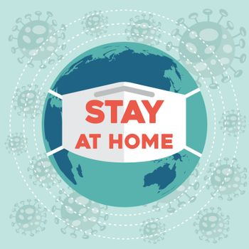 """Stay at home""-coronavirus advice, Covid-19 poster. Vector"