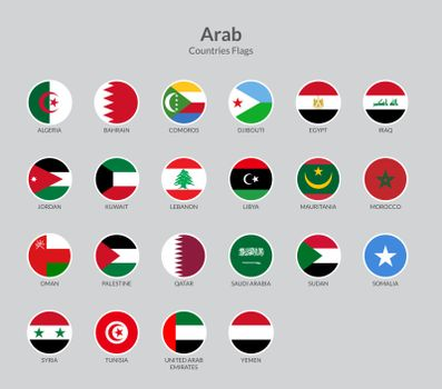Arab countries flag icons collection