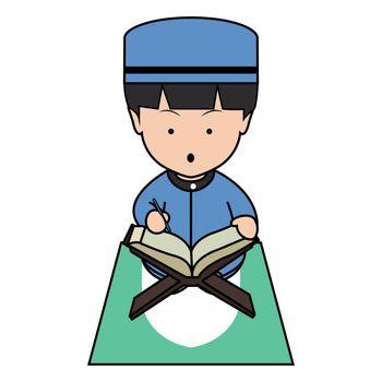 Muslim Boy Read Koran Cute Illustration