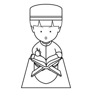 Muslim Boy Read Koran Cute Line Art Illustration