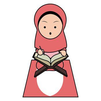 Muslim Girl Read Koran Cute Illustration