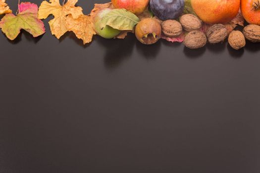 autumn still life, copy space, dark background, autumn composition from top. Free space for text
