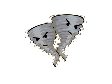 two angry tornadoes on a white background - 3d rendering
