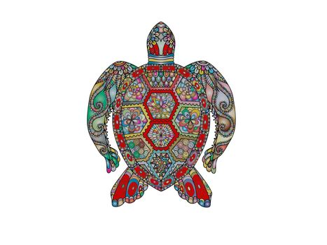 very beautiful turtle on white background - 3d rendering