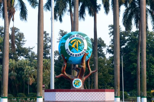 National Emblem of West Bengal (Paschim Banga) used by the Biswa Bangla campaign. Official seal of government of West Bengal. Circle depicting globe representation of Bengali alphabet. India May 2019