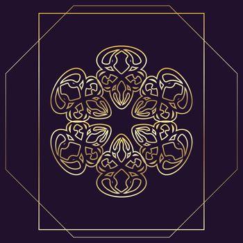 Beautiful oriental golden mandala in geometric frame on dark purple background