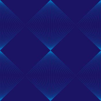 Simple modern minimalist seamless pattern with grid of blue linear rhombuses