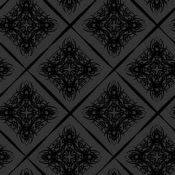 Seamless pattern of dark elegant vintage wallpaper with victorian tracery