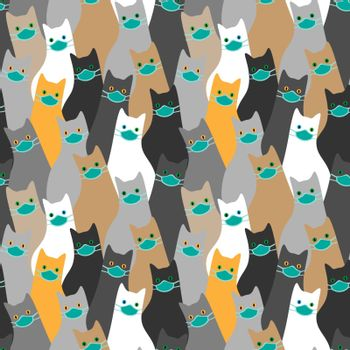 Funny and cute seamless pattern with many cats wearing medical masks