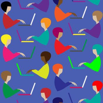 Bright modern seamless pattern with different faceless women at the laptop on blue background