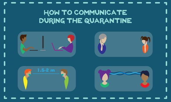 Coronavirus concept illustration of communication during quarantine: online, phone, keeping the distance and telepathy