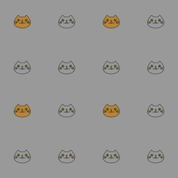Seamless pattern with cute contour cartoon cat faces on grey background