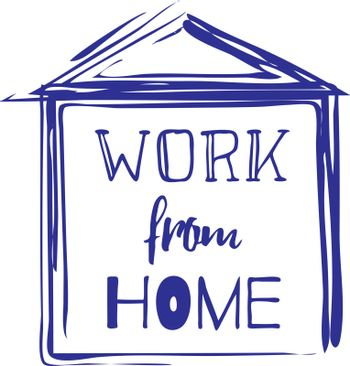 Cute and simple sketch illustration of house with text 'work from home'