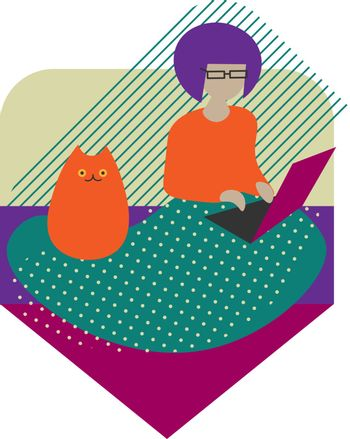 Cute and cozy colorful illustration of girl sitting on the sofa with laptop and cat