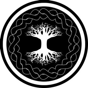 Black and white icon with yggdrasil - viking tree of life in the celtic ornamented circle