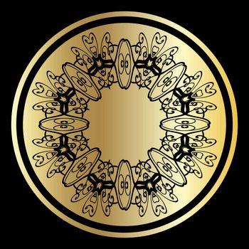 Vintage elegant golden circle with black ornamented lace mandala frame