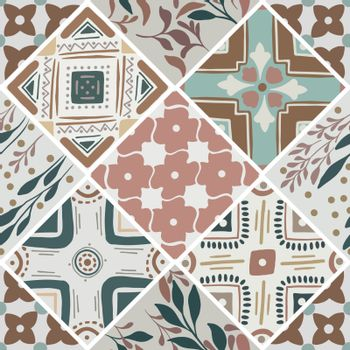 Colorful floral seamless hand drawn ornamental east pattern in patchwork boho chic style from rhomb, in portuguese and moroccan motif