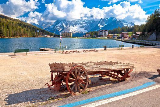 Lake Misurina in Dolomiti Alps alpine landscape view