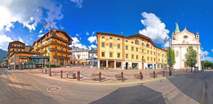 Cortina d' Ampezzo main square architecture and church panoramic